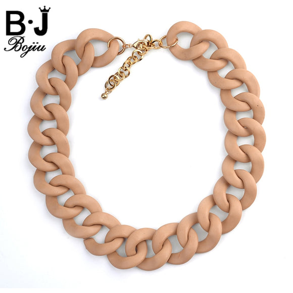 BOJIU Necklace Women Plastic Wood Resin Necklace Party Wedding Noble Charm Fashion Link Accessories Chain Choker NKS076