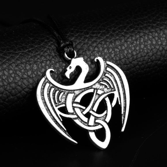 HEYu Celtic Dragon Pendant Necklace Celtic Triangle Necklace Celtic Dragon Pewter Scandinavian Viking Celtic Dragon Jewelry Gift