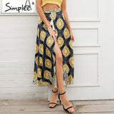 Simplee High waist split print wrap skirt women Summer beach casual floral maxi skirt Female 2018 spring sash long skirt