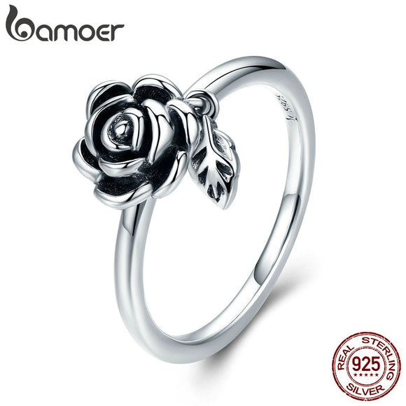 BAMOER 100% Real 925 Sterling Silver Romantic Rose Flower Leaves Female Finger Ring for Women Wedding Engagement Jewelry SCR274 - The Rogue's Clothes
