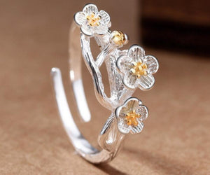 Fashion Silver Plated Cherry Blossom Branch Flower Rings Adjustable Open Finger Ring for Women 925 Prevent Allergy Plant Jewelry