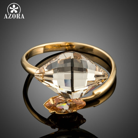 AZORA Gold Color Dream Crystal Adjustable Size Rings for Women Rings Marquise Cut Cubic Zirconia Cocktail Party Rings TR0188 - The Rogue's Clothes