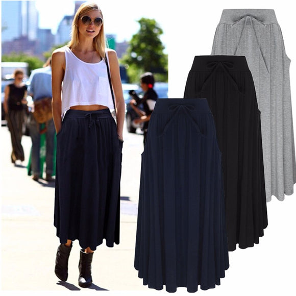 7 Colors 2018 Autumn Fashion Women Long Skirts Pleated Maxi Female Lady Elastic High Waist Casual Loose Solid Jupe Femme Skirt - The Rogue's Clothes