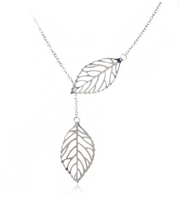 1PC Womens Girls Simple Metal Double Leaf Pendant Alloy Choker Necklace - The Rogue's Clothes