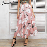 Simplee Tassel floral print long skirt women Button tie up beach maxi skirt 2018 Casual streetwear boho summer skirt female