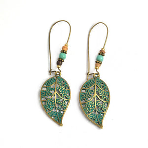 Vintage Hollow Leaves Beads Stud Earrings Bohemian Dangle Earrings