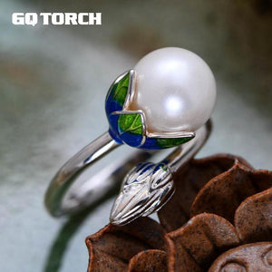 GQTORCH Silver Vintage Lotus Pearls Rings For Women Cloisonne Enamel Process Natural Freshwater Pearls Rings