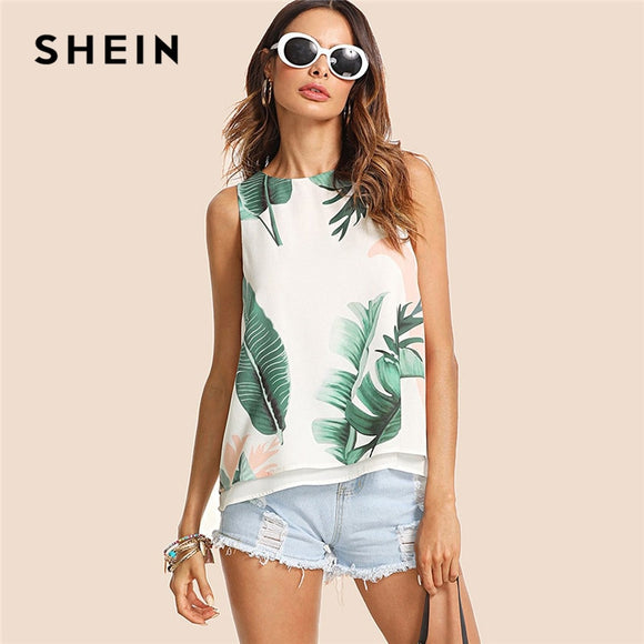 SHEIN Bohemian Vacation Multicolor Women Tank Top Streetwear Tropical Print High Low Round Neck Boho 2018 Summer Top
