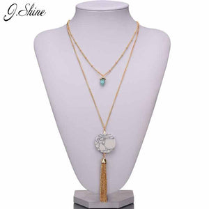 White Round Marbled Stone Double Layers Long Tassel Necklaces Pendants Fashion Trendy Autumn Jewelry Gold Color Chain Women