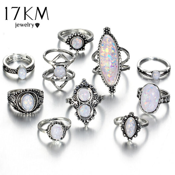 17KM Vintage Big Natural Opal Stone Knuckle Shield Rings Set For Women Bohemian Antique Silver Color Rings Fashion Jewelry Gifts - The Rogue's Clothes