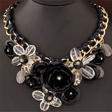 Tenande Vintage Gypsy Metal Big Enamel Flower Choker Necklaces For Women Jewelry Joias Braided Rope Necklaces & Pendants Colar
