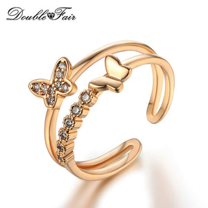 New Lovely Bowknot Silver/Rose Gold Color Cubic Zirconia Adjustable Rings Fashion CZ Stone Wedding Jewelry For Women Ring DFR350