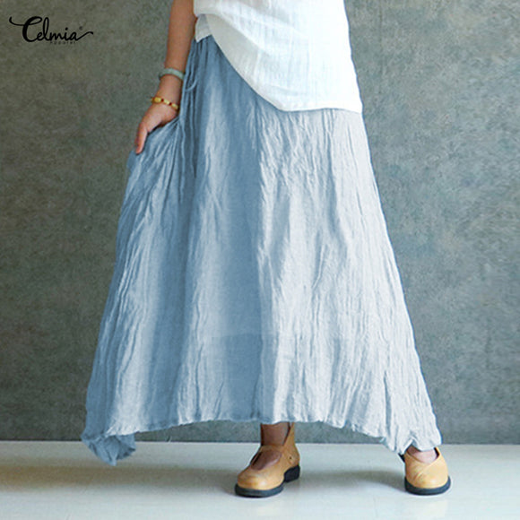 Celmia Cotton Linen Long Skirt Oversized Women 2018 Summer Candy Color Pleated Falda Vintage Elastic Waist Beach Maxi Skirt 2XL - The Rogue's Clothes