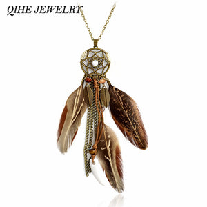 QIHE JEWELRY Pendant necklace Brown natural color feather dreamcatcher necklace Boho Gypsy Bohemian Hippie Jewelry