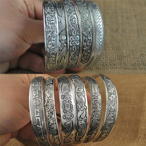 10 Styles Gypsy Tibetan Silver Metal Carving Wide Cuff Open Bracelet Bangles Vintage For Women Armbanden Voor Vrouwen Jewelry - The Rogue's Clothes