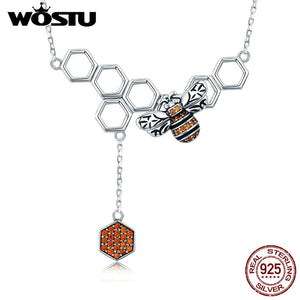 WOSTU New Trendy 925 Sterling Silver Insect Bee Honeycomb Pendant Necklace For Women Luxury Brand Jewelry Gift CQN216