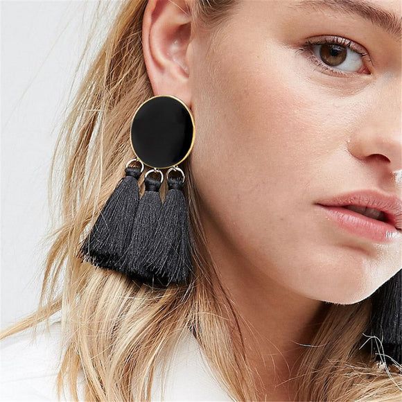 17 KM Bohemian Geometric Long Tassel Drop Earrings For Women Silk Fabric Pendant Dangle Earring Statement Ethnic Jewelry 6 Color - The Rogue's Clothes