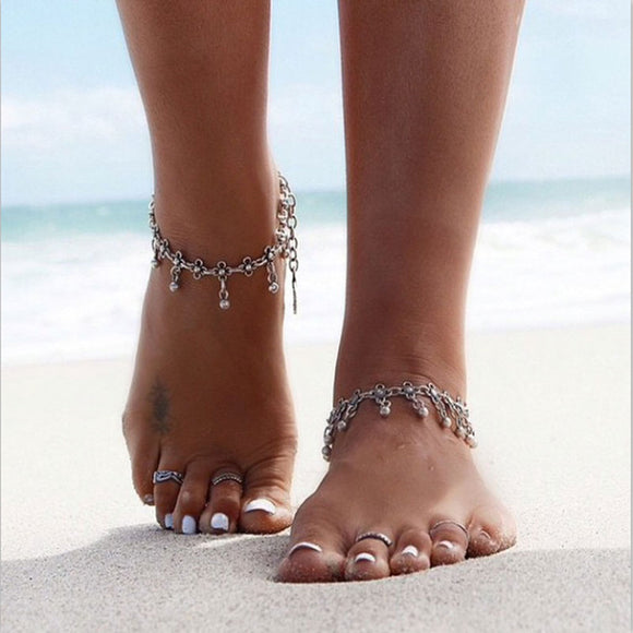 KMVEXO 2018 Summer Style Bohemian Gypsy Turkish Tribal Boho Silver Coin Anklet Ankle Bracelet Boho Foot Jewelry