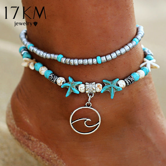 17KM Bohemian Wave Anklets For Women Vintage Multi Layer Bead Anklet Leg Bracelet Sandals Boho DIY Summer Charm Jewelry - The Rogue's Clothes
