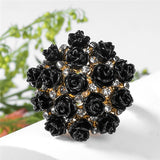 H:HYDE High Quality Hot Sale Blooming Enamel Flower Rings Bridal Engagement Ring for Women Jewelry