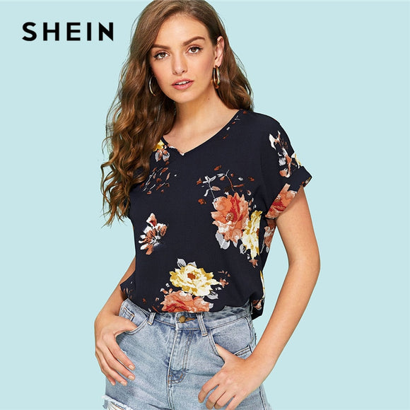7bbc7089fb SHEIN Roll Up Sleeve Floral Top 2018 Summer Short Roll Up Sleeve V Neck  Cool Blouse