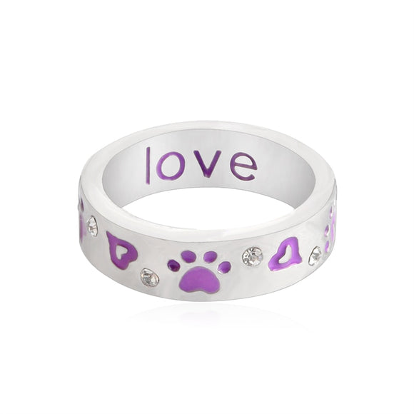 Unconditional Love Dog Paw Ring for Women Dog owner Purple Crystal Rhinestones Footprints Heart shaped Ring Pet Animal Jewelry