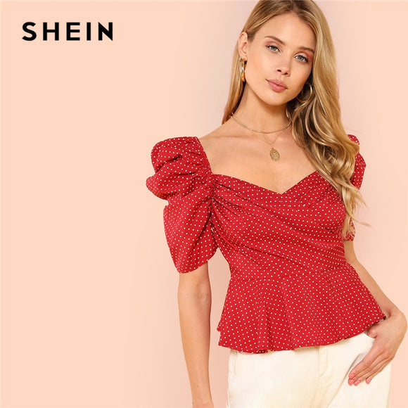 SHEIN Burgundy Vacation Boho Bohemian Beach Polka Dot Short Sleeve Wrap Front Blouse Summer Women Sexy Casual Shirt Top