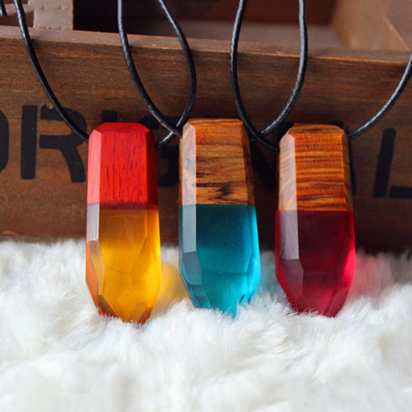 1 pc Women Men Necklace Handmade Vintage Resin Wood Necklaces Pendants Rope Wooden Jewelry 1 Piece Free Shipping Drop Shipping