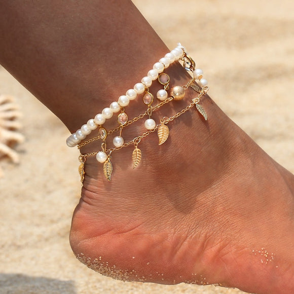 Vintage Gold Silver Multilayers Simulated Pearl Beaded Anklets for Women Bohemian Beach Leaf Foot Jewelry Gypsy Ankle Bracelet