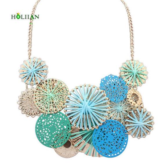 New women Autumn flowers necklace&pendants Gold-color winter candy blue boho collar pink black big choker necklace jewelry new