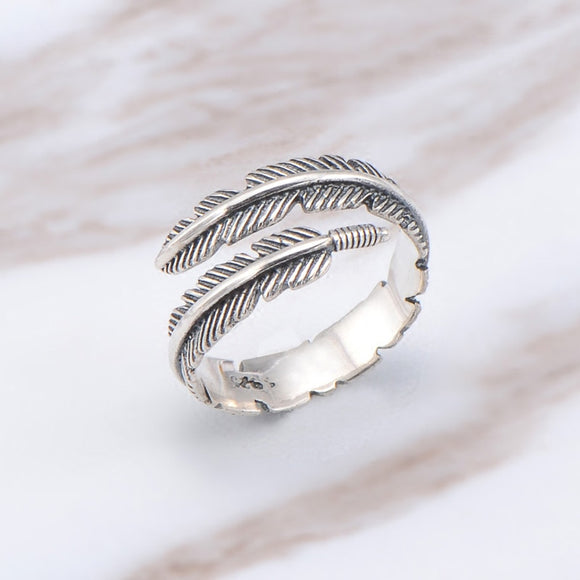Boho Adjustable Chic Feather Leaf Ring Vintage Thai Silver Color Men Women Wedding Hippie Punk Biker Spinner Rotatable Rings - The Rogue's Clothes
