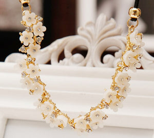 MissCyCy 2016 New Vintage Fine Jewelry Simple Daisy Rhinestone Flower Leather Cord Statement Necklace For Women