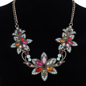 Statement necklace Gothic jewelry Crystal Gold necklaces & pendants vintage choker necklace women accessories Flower collar