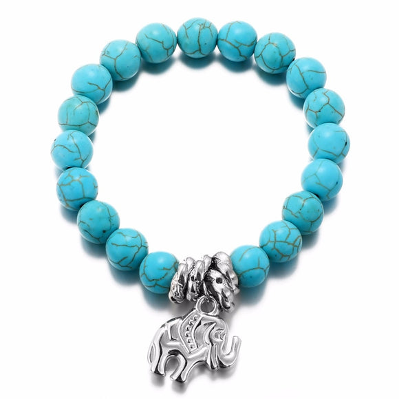 Bohemian Tibetan Sky Blue Beads Bracelets Antique Silver Summer Jewelry Elephant Resin Elastic Brand Charm Bracelet - The Rogue's Clothes