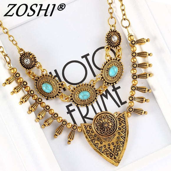 Gypsy Ethnic Jewelry Antient Gold Silver Steampunk Metal Spike Tassels Vintage Carved Triangle Pendant Choker Necklace for women