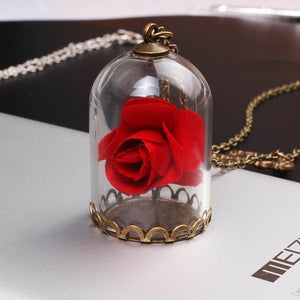 SG Beauty and the Beast Necklace Glass Covers Dry Flower Rose Mirror And Butterfly  Necklace Pendant For Women Girl Jewelry