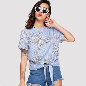 SHEIN Multicolor Elegant Knot Front Floral and Striped Round Neck Short Sleeve Blouse Summer Women Weekend Casual Shirt Top