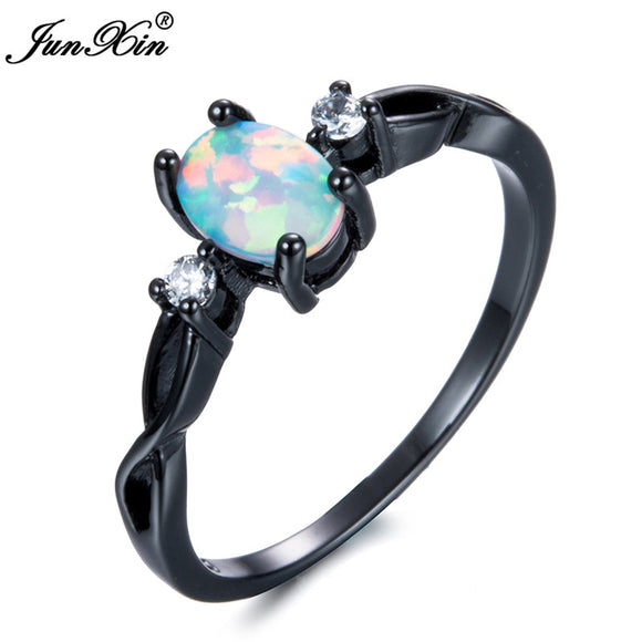 JUNXIN White/Blue/Pink/Orange Fire Opal Rings For Women Thin Wave Ring Vintage Black Gold Filled Jewelry Valentine'S Day Gift