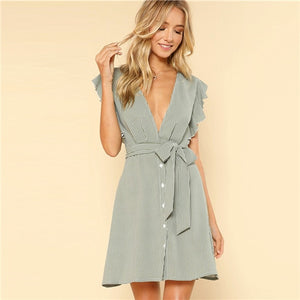 SHEIN Green Vacation Boho Bohemian Beach Ruffle Armhole Button Front Belted Striped High Waist Dress Summer Women Casual Dress