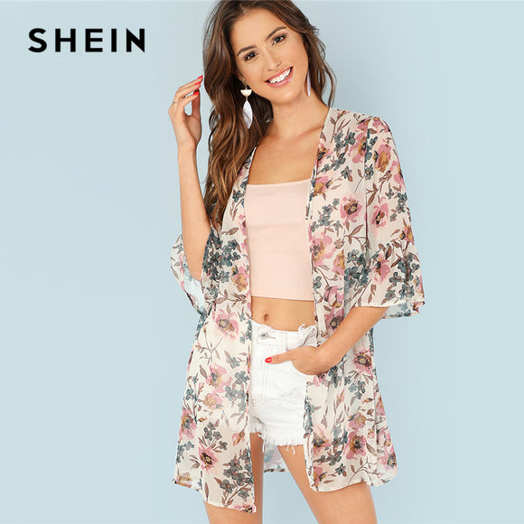 8917c22a65 SHEIN Multicolor Vacation Boho Bohemian Beach Floral Print Flounce Sleeve  Long Kimono Summer Women Weekend Casual