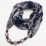 Rainbery Autumn Solid Women Scarf Gorgeous Beaded Pendent Beaded Scarf Necklace Ethnic Jewelry Muffler Womens Shawl JN1016