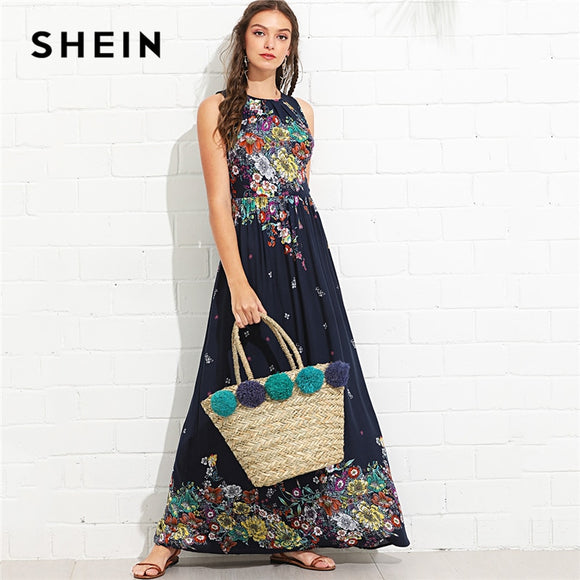 SHEIN Multicolor Vacation Boho Bohemian Beach Knot Back Ruffle Trim Botanical High Waist Maxi Dress Summer Women Casual Dresses