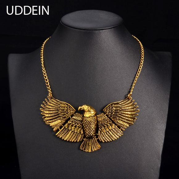 Vintage Gold color 3D engravi eagle choker Autumn fashion jewelry display statement chokers necklace for women 2017 new design