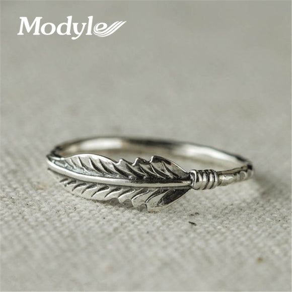 Modyle 2018 Silver Color Rings For Women Vintage Thai Silver Color Feather Jewelry Ring For Lover Best Gifts