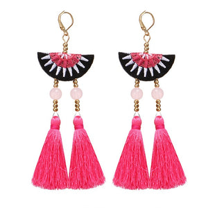 17KM 3 Color Bohemian Tassel Earrings For Women Fashion Female Beads Long Dangle Earring Statement Brincos Jewelry New Wholesale - The Rogue's Clothes