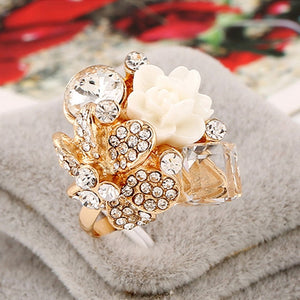 New Arrival Women Finger Rings Big Crystal Ring Adjustable Resin Flower Rings Fashion Jewelry Wholesale 8 Colors