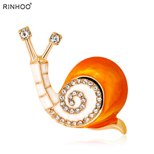 Rinhoo Enamel Cute Snails Insect Decorative Brooches Pins For Women Men Crystal Brooch Bijouterie Animal Brooches Jewelry Gifts