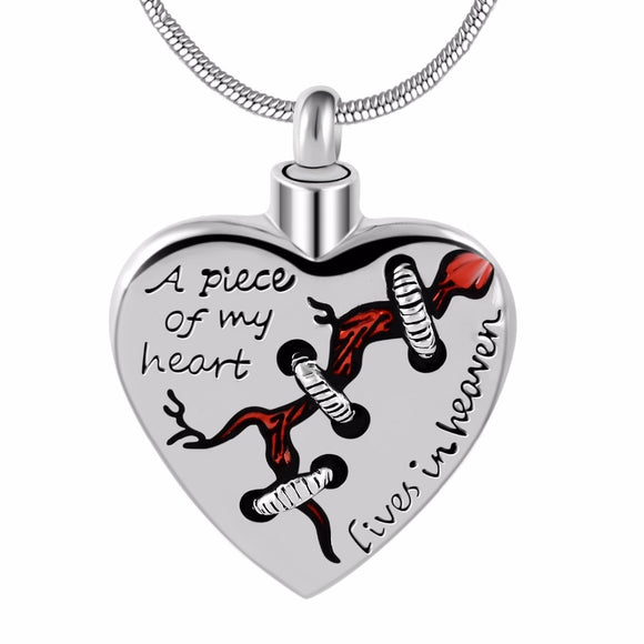 A piece of my heart lives in heaven Locket Heart cremation memorial ashes urn heart necklace jewelry keepsake pendant