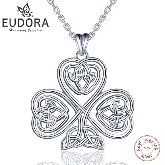 EUBORA 925 Sterling Silver Tree of Life Pendant Necklace Good Luck Irish Celtics Shamrock Sliver jewelry For Women Girls Gifts