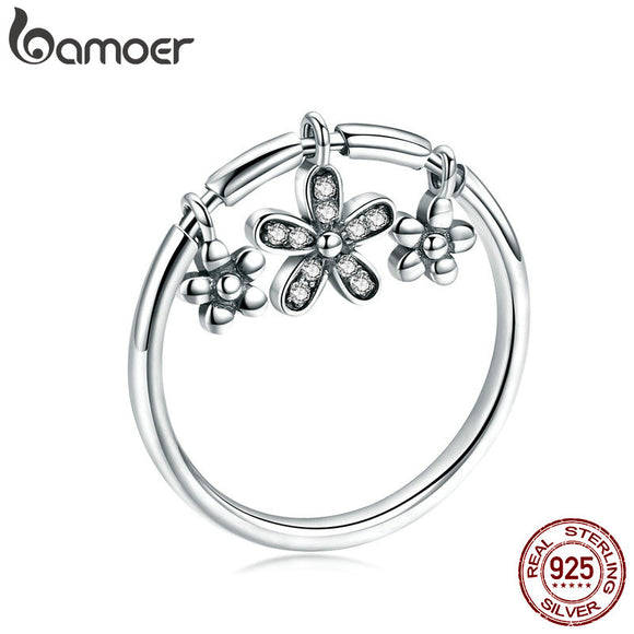 BAMOER Authentic 925 Sterling Silver Daisy Flower Dangle Finger Rings for Women Fashion Sterling Silver Ring Jewelry SCR395 - The Rogue's Clothes